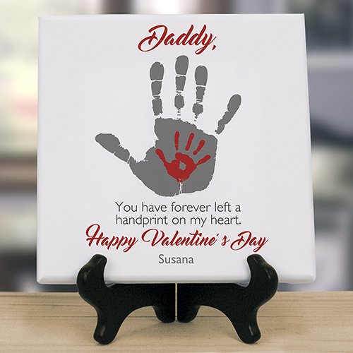 Personalized Handprints on Our Hearts 8 x 8 Table Canvas | Personalized Valentine Gifts For Dad