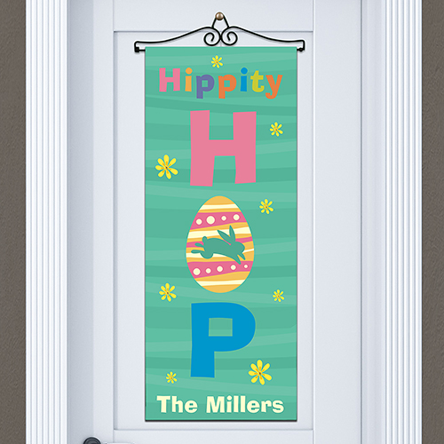 Hippity Hop Personalized Door Banner | Personalized Easter Decor