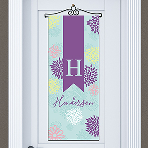 Personalized Abstract Floral Door Banner | Personalized Housewarming Gifts