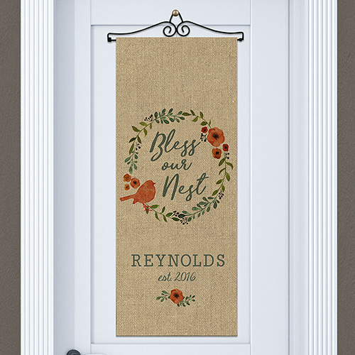 Bless Our Nest Personalized Door Banner | Personalized Housewarming Gifts
