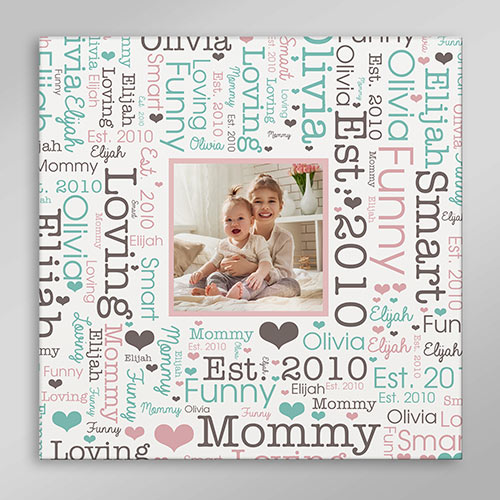 Photo Word-Art Square Canvas | Personalized Gifts For Mom