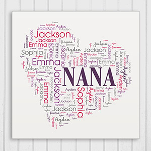 Heart Word-Art Canvas | Personalized Gifts for Grandma