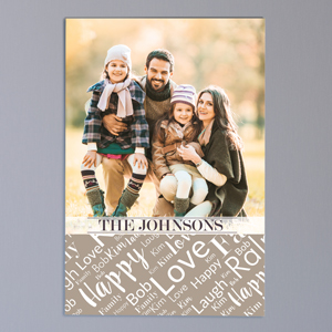 Personalized Family Photo Word-Art 30x20 Vertical Canvas | Photo To Canvas Art