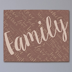 Personalized Family Diagonal Word-Art Canvas | Word Art Canvas