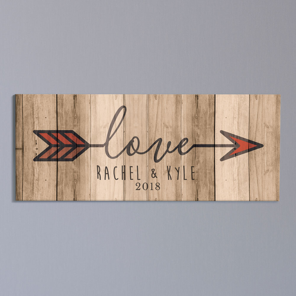 Personalized Love Arrow Wall Canvas | Personalized Valentine's Day Decorations For Home