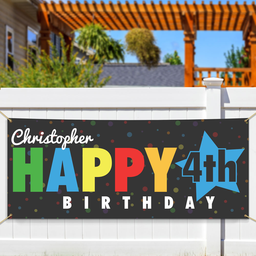 Personalized Happy Birthday Star Banner | Custom Birthday Banners