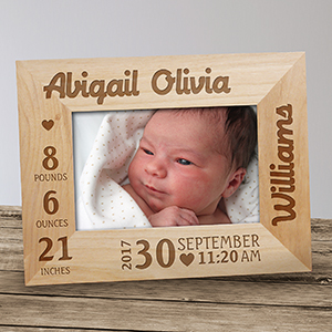 Engraved Wood Frame for Baby | Personalized Baby Frames