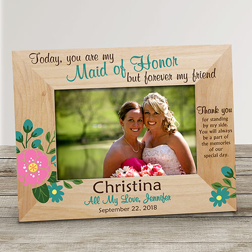 Personalized Bridesmaid Flower Wood Frame | Personalized Wood Picture Frames