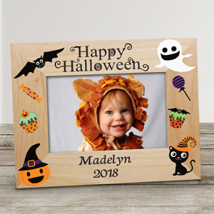 Personalized Happy Halloween Characters Wood Frame