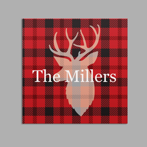 Personalized Plaid Deer Canvas | Personalized Rustic Wall Decor