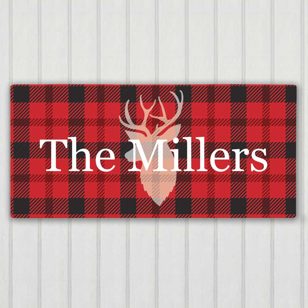 Personalized Plaid Deer Wall Canvas | Personalized Rustic Wall Decor