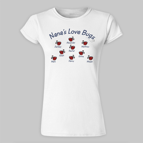 Love Bugs Personalized Ladies' Fitted T-Shirt 911898X