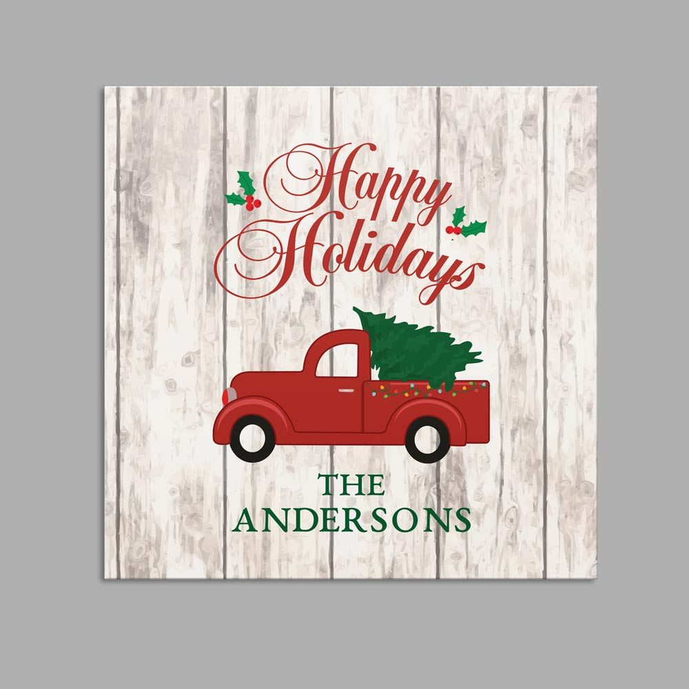 Personalized Happy Holidays Truck Canvas | Personalized Christmas Decorations