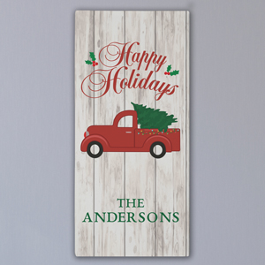 Personalized Happy Holidays Truck Wall Canvas | Personalized Christmas Decorations