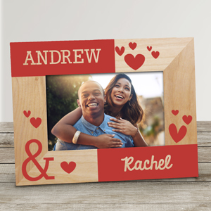 Valentine's Gifts For Him | Personalized Couples Hearts Wood Frame