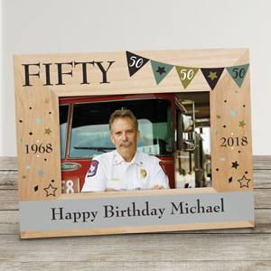 Personalized Birthday Pennant Banner Wood Frame | Personalized Happy Birthday Picture Frames