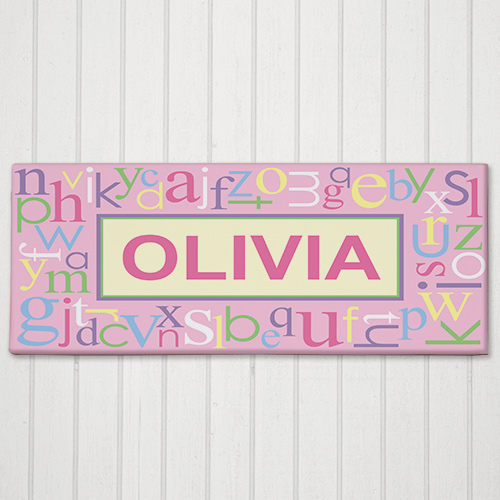 Personalized Pink Alphabet Name Wall Canvas 9155473