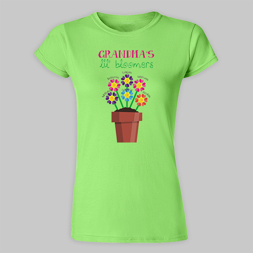 Personalized Lil' Bloomers Fitted-T-Shirt | Personalized Grandma Shirts
