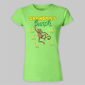 Personalized Monkey Bunch Ladies' Fitted T-Shirt | Personalized Shirts For Women