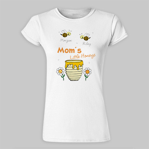 Little Honeys Personalized Ladies Fittted T-Shirt | Personalized Mom Tshirts