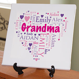 Personalized Grandma's Heart Word-Art Canvas