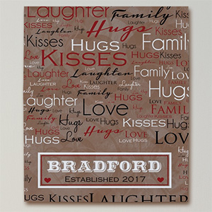 Family Word Art Canvas | Personalized Valentines Canvas Prints