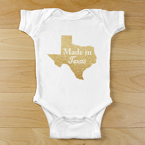Made In State Glitter Personalized Baby Bodysuit | Unique Baby Gifts