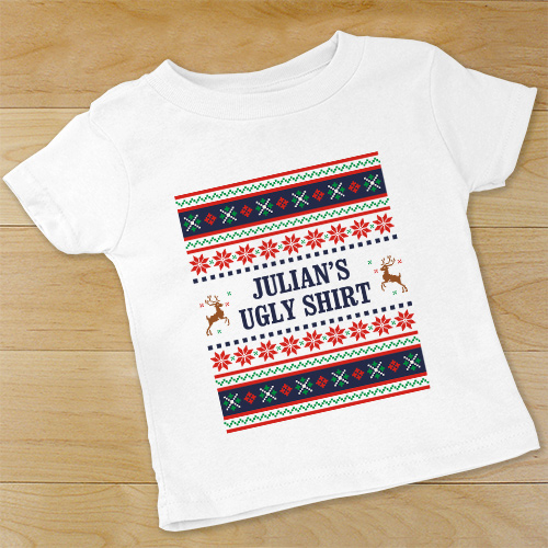 Personalize Ugly Sweater Toddler T-shirt | Personalized Ugly Christmas Shirt