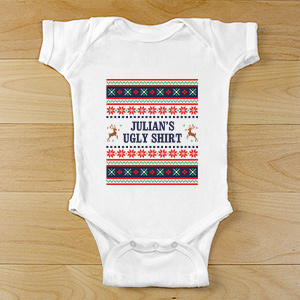 Personalized Ugly Sweater Baby Clothes | Personalized Ugly Christmas Shirt