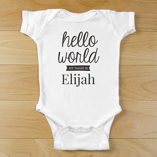 Personalized Hello World Infant Apparel | Personalized Baby Onesie