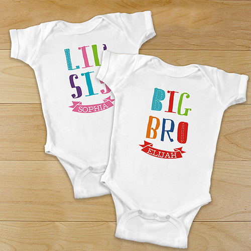 Personalized Siblings Infant Apparel | Personalized Baby Onesies