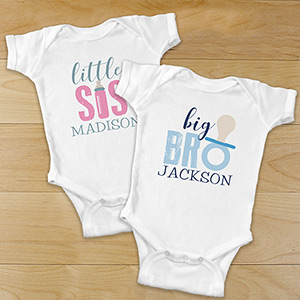 Personalized Brother or Sister Infant Apparel | Personalized Baby Onesies