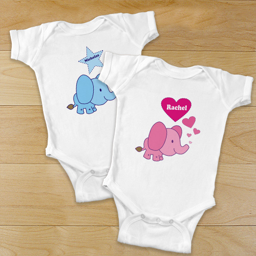 Pink Baby Elephant Personalized Bodysuit | Elephant Baby Gifts