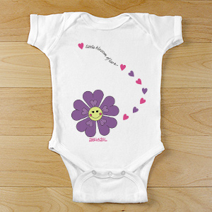 Personalized Flower Bodysuit | Customized Baby Gifts