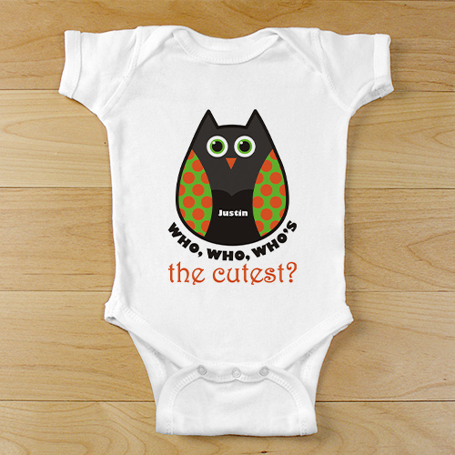 Personalized Who's The Cutest Owl Baby Bodysuit | Customized Baby Gifts