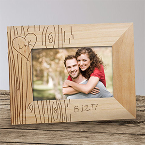 Engraved Couples Tree Carving Wood Picture Frame 97301X
