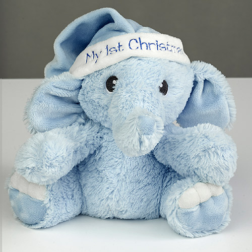 My First Christmas Plush Elephant for Boy | Personalized Baby's First Christmas