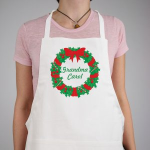 Christmas Wreath Personalized Christmas Apron