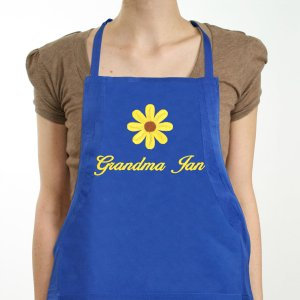 Embroidered Daisy Kitchen Apron
