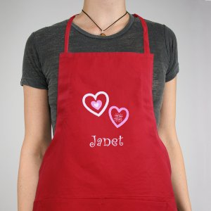 Embroidered Hugs & Kisses Kitchen Apron | Personalized Aprons