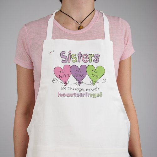 Hearts Strings Sisters Personalized Apron | Personalized Aprons