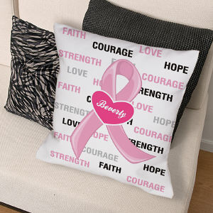 Hope and Love Breast Cancer Awareness Throw Pillow