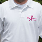 Embroidered Believe Breast Cancer Awareness Polo Shirt