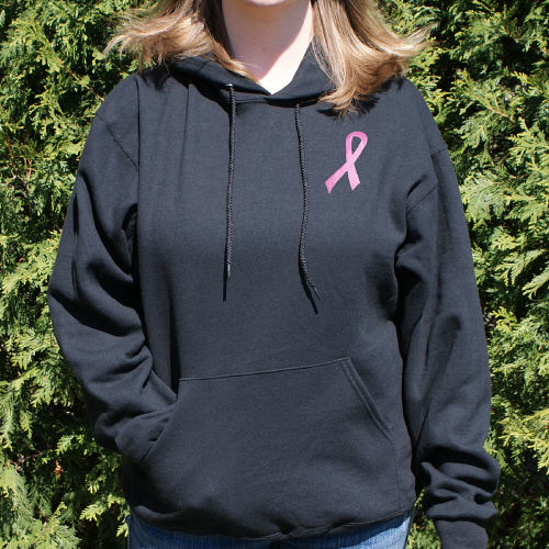 Embroidered Pink Ribbon Breast Cancer Hooded Sweatshirt H54640X