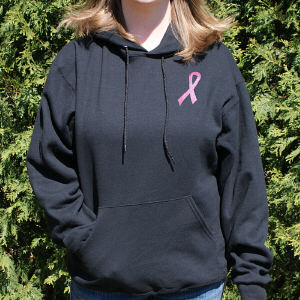 Embroidered Pink Ribbon Breast Cancer Hooded Sweatshirt
