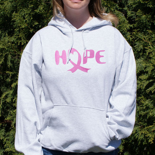 Embroidered Breast Cancer Hope Awareness Hooded Sweatshirt H54646X