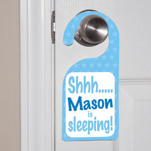 Personalized Shhh...Baby's Sleeping Blue Door Hanger 44062DHLB