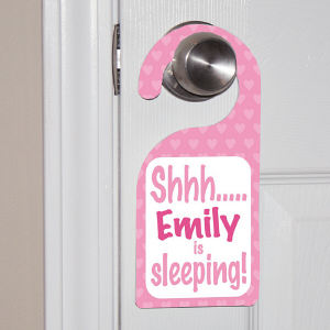Personalized Shhh...Baby's Sleeping Pink Door Hanger 44062DHPK