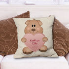 Teddy Bear New Baby Girl Personalized Throw Pillow
