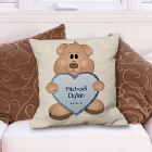 Teddy Bear New Baby Boy Personalized Throw Pillow